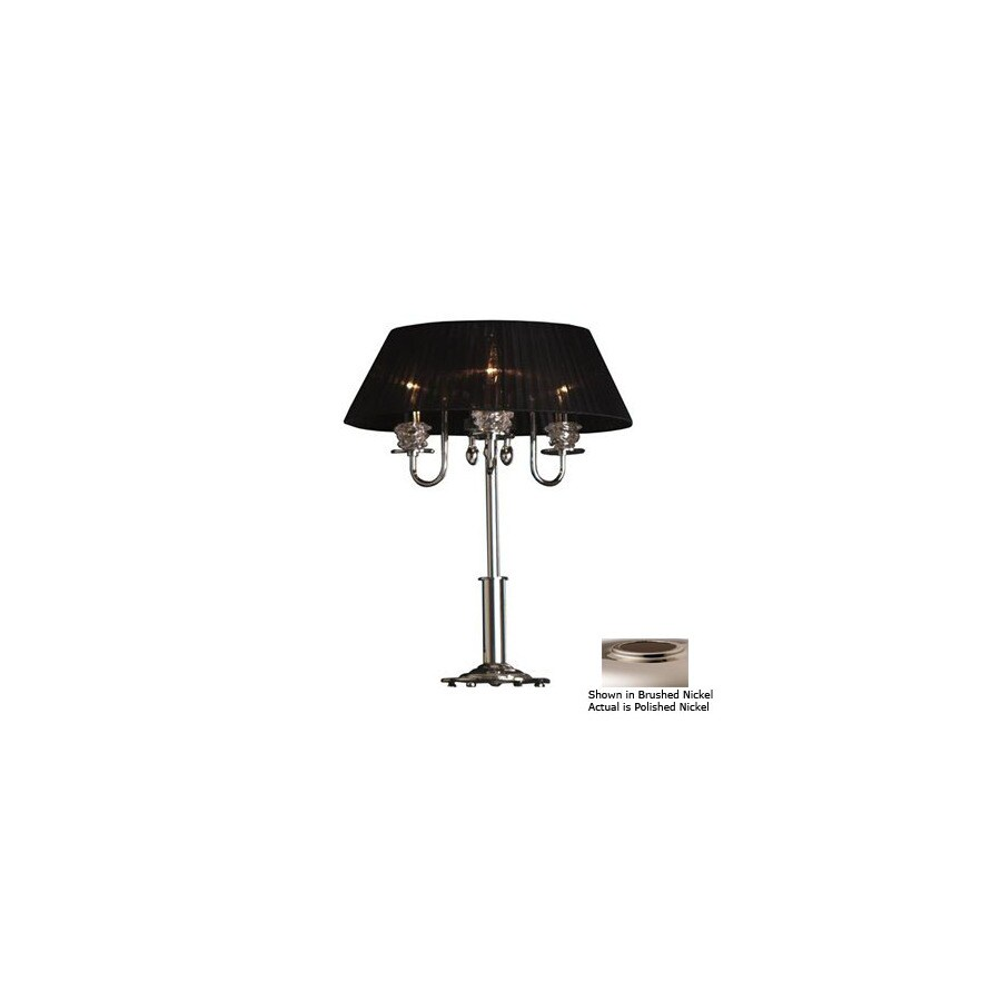 Lustrarte 24-1/2-in Polished Nickel Table Lamp with Glass Shade