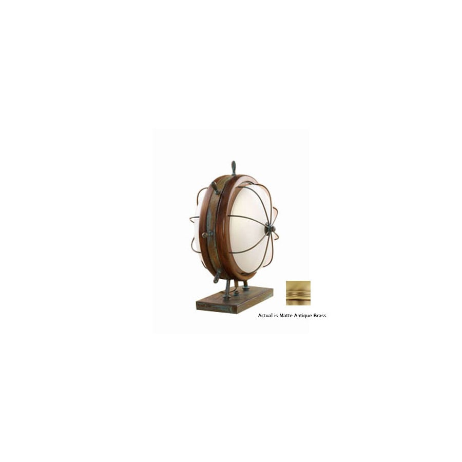 Lustrarte 14-1/2-in Matte Antique Brass Table Lamp with Glass Shade