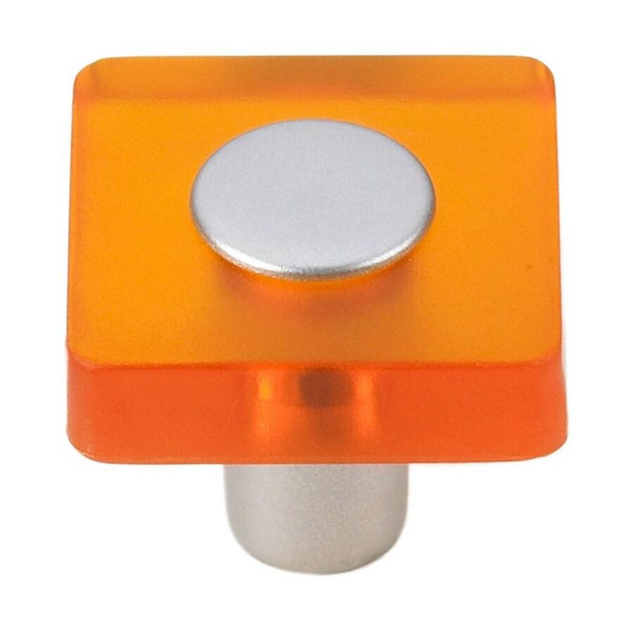 Siro Designs Decco Orange/Matte Aluminum Square Cabinet Knob