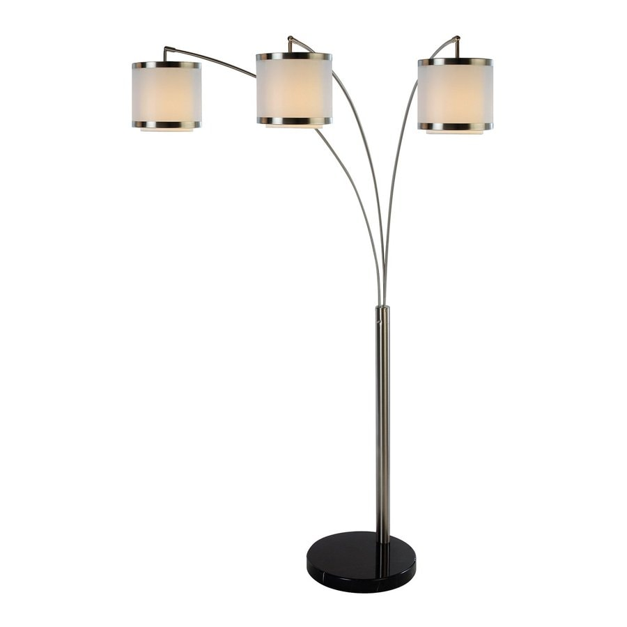 Trend Lighting Lux 83-in Black Marble Multi-Head Indoor Floor Lamp with Fabric Shades