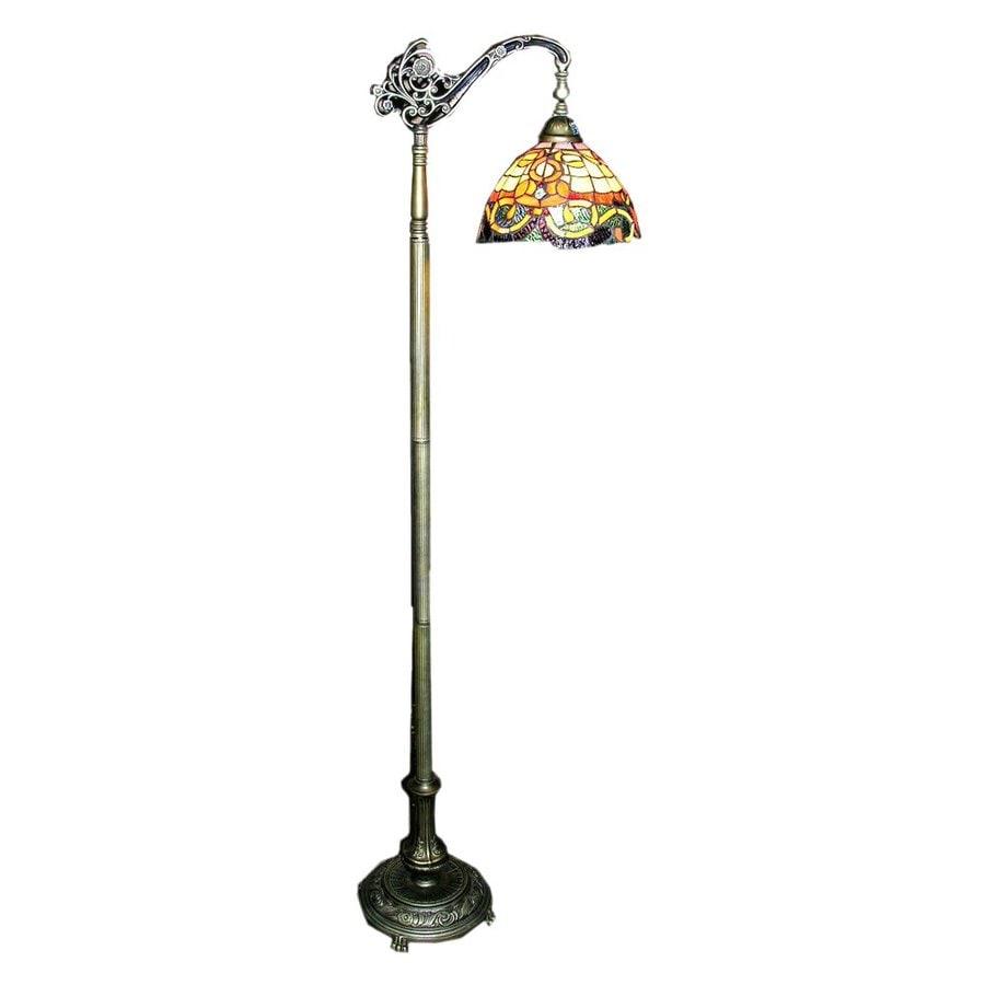 Warehouse of Tiffany Rome 62-in Bronzetone Tiffany-Style Shaded Floor Lamp with Glass Shade