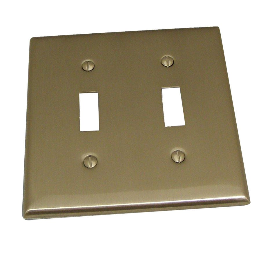 Residential Essentials 2-Gang Satin Nickel Standard Toggle Steel Wall Plate