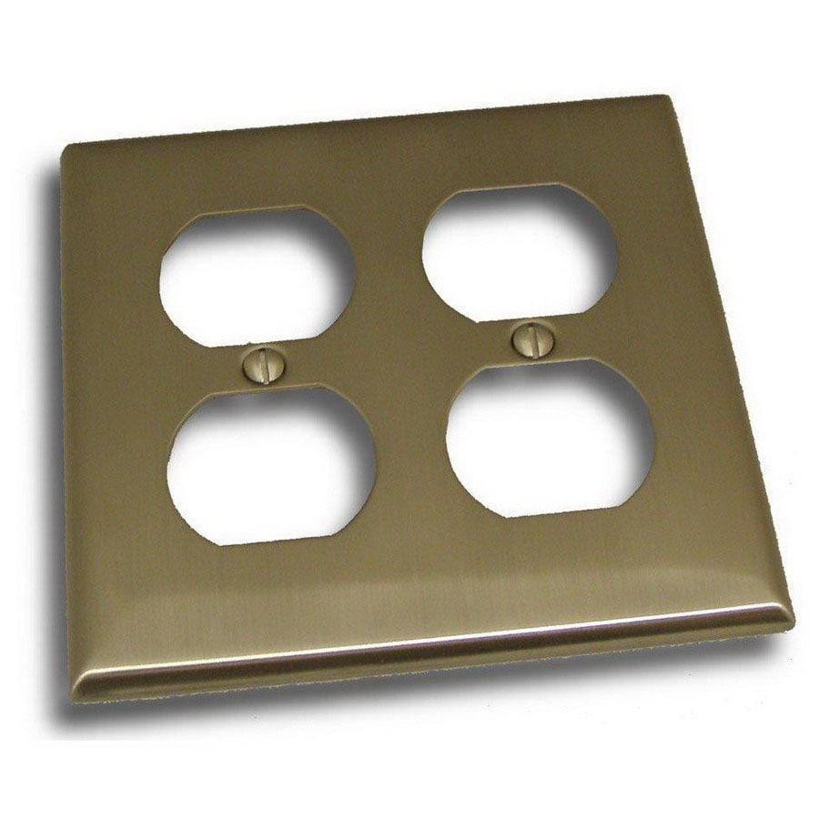 Residential Essentials 2-Gang Satin Nickel Standard Duplex Receptacle Steel Wall Plate