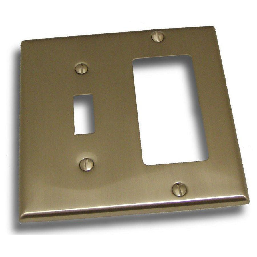 Residential Essentials 2-Gang Satin Nickel Combination Steel Wall Plate
