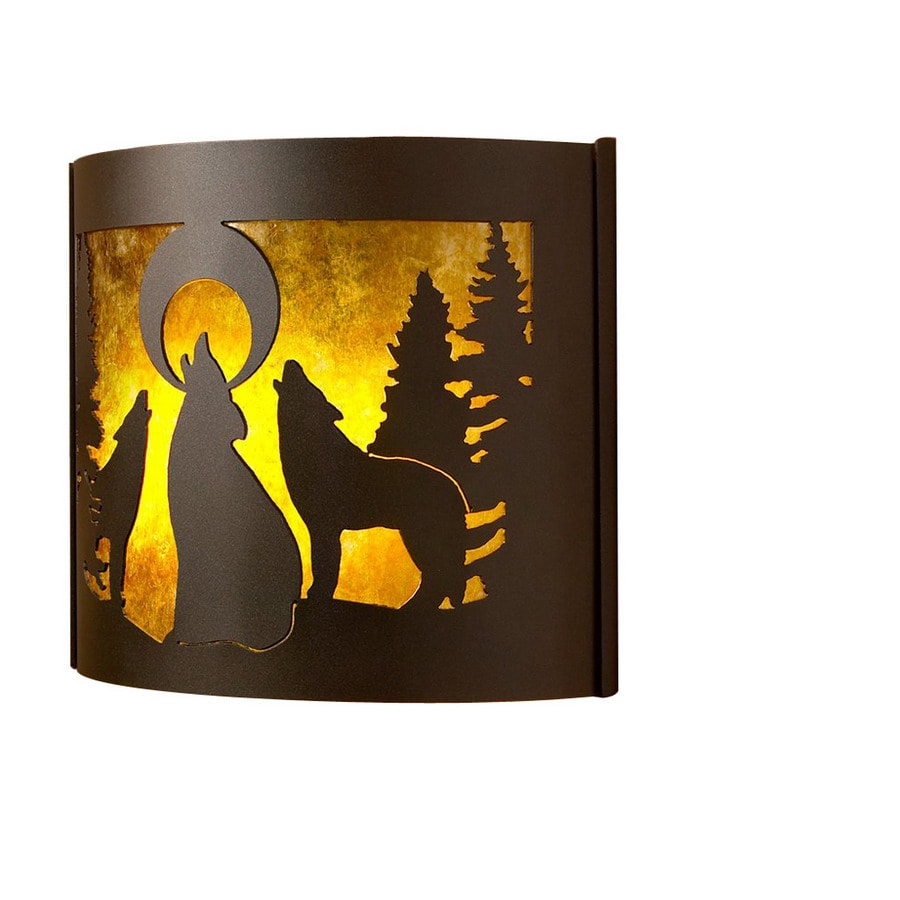 P&D Metal Works Howling Wolves 14-in W 1-Light Powder Coated Brown Sugar Pocket Hardwired Wall Sconce