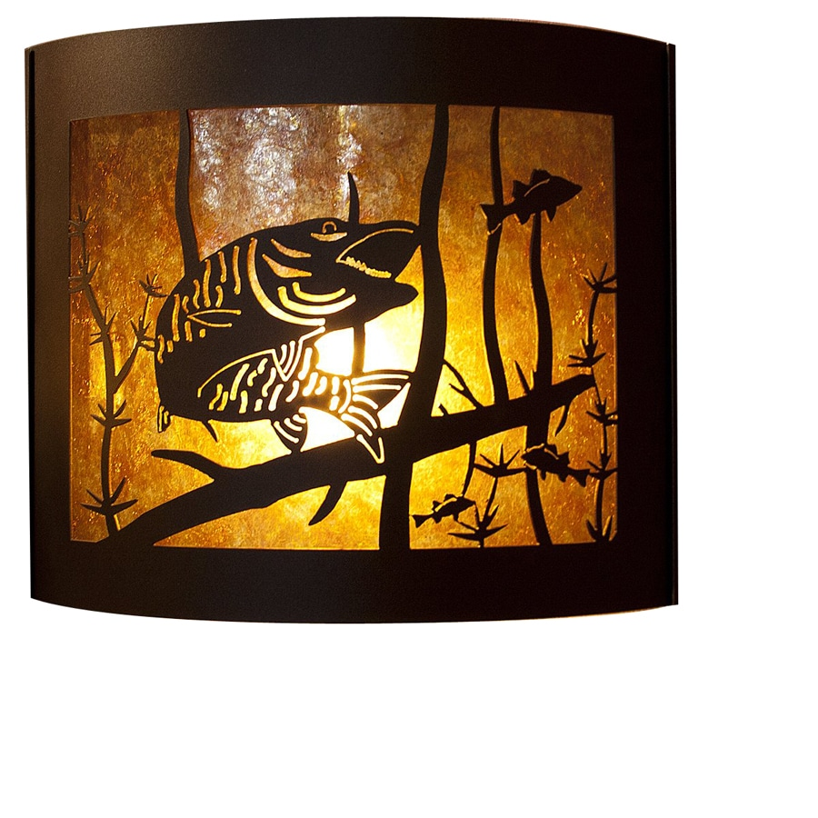 P&D Metal Works Musky 14-in W 1-Light Powder Coated Brown Sugar Pocket Hardwired Wall Sconce