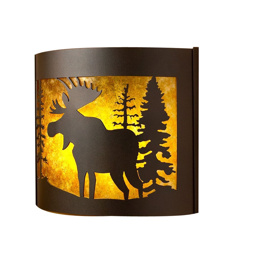 P&D Metal Works Moose 14-in W 1-Light Powder Coated Brown Sugar Pocket Hardwired Wall Sconce