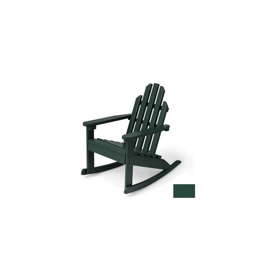 Prairie Leisure Design Hunter Green Wood Rocking Adirondack Chair