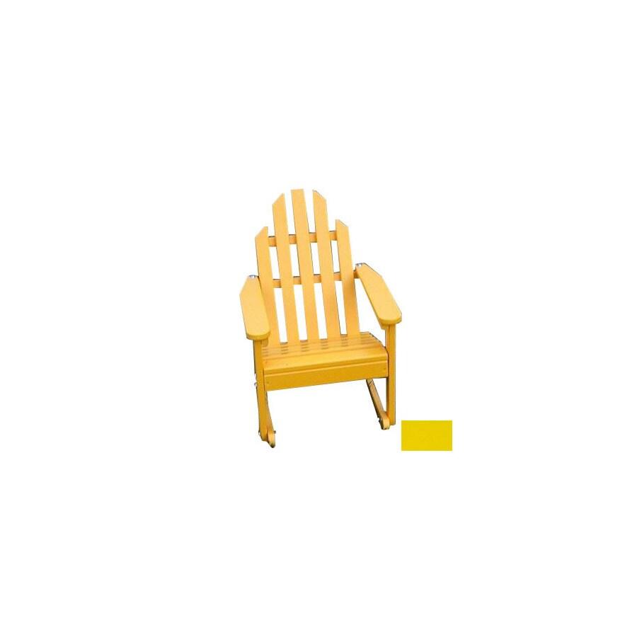Prairie Leisure Design Buttercup Yellow Wood Rocking Adirondack Chair