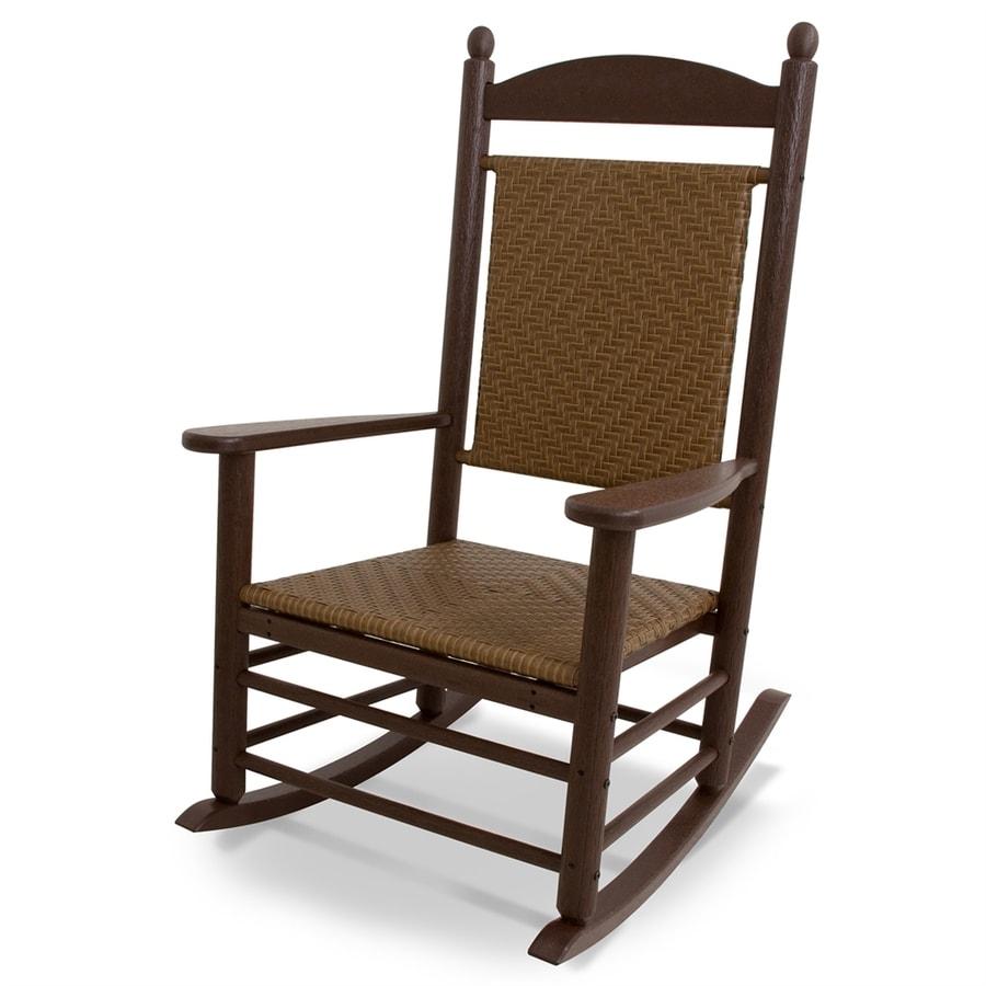 POLYWOOD Jefferson Mahogany/Tigerwood Plastic Patio Rocking Chair
