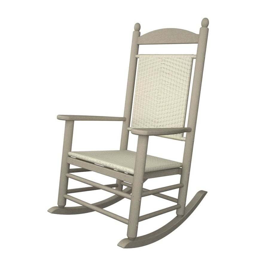 shop polywood jefferson sand white loom plastic patio rocking chair at. Black Bedroom Furniture Sets. Home Design Ideas