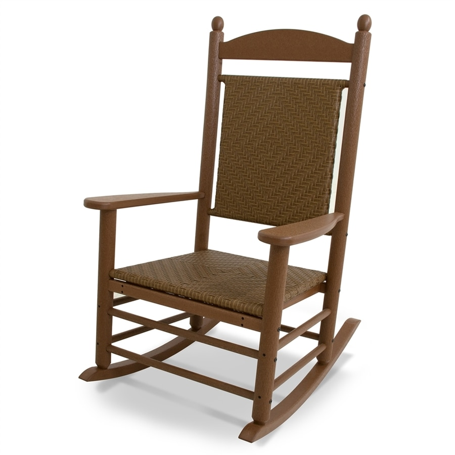 Shop polywood jefferson teak tigerwood plastic patio for Outside porch chairs