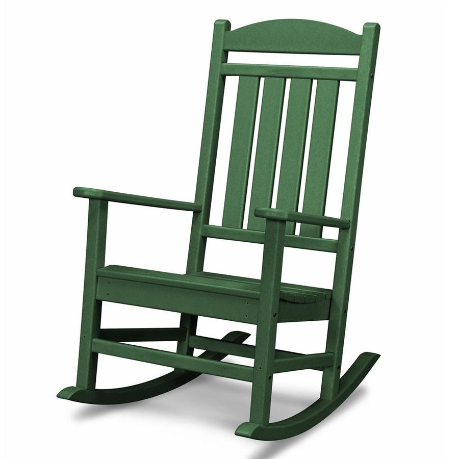 polywood presidential green plastic patio rocking chair at