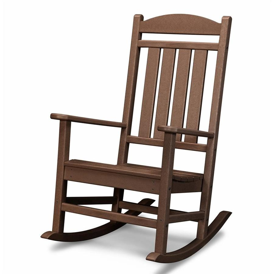 POLYWOOD Presidential Mahogany Plastic Patio Rocking Chair
