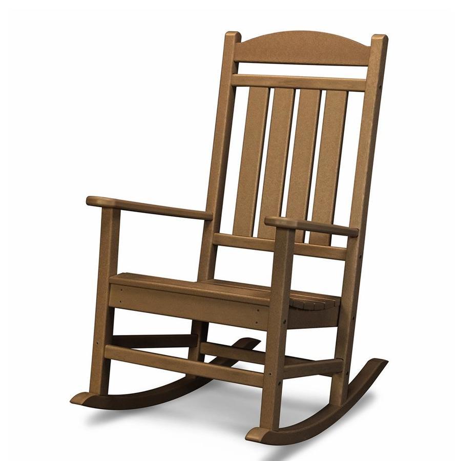 POLYWOOD Presidential Teak Plastic Patio Rocking Chair