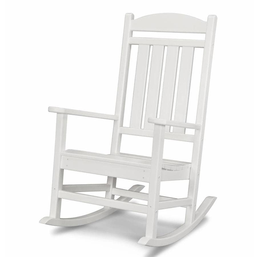 Polywood Presidential White Plastic Patio Rocking Chair