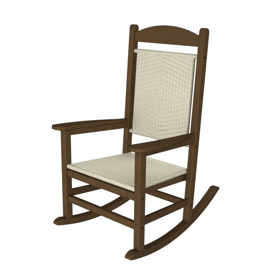 shop polywood presidential teak white loom plastic patio rocking chair at. Black Bedroom Furniture Sets. Home Design Ideas