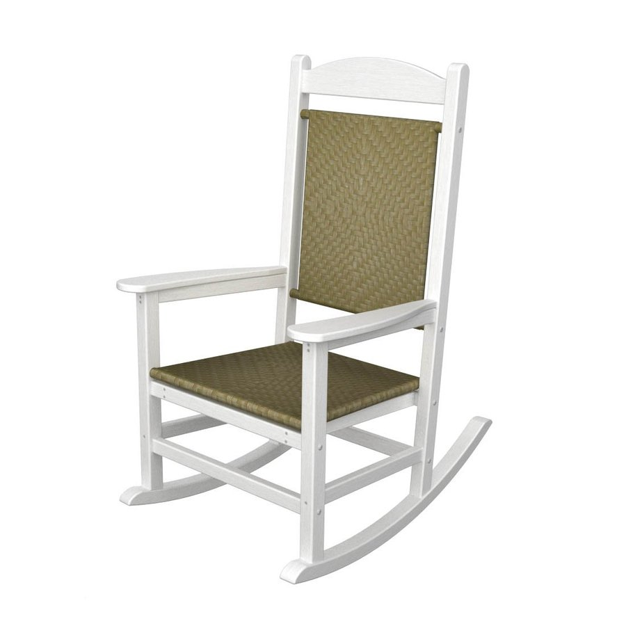 POLYWOOD White/Seagrass Recycled Plastic Woven Seat Outdoor Rocking ...