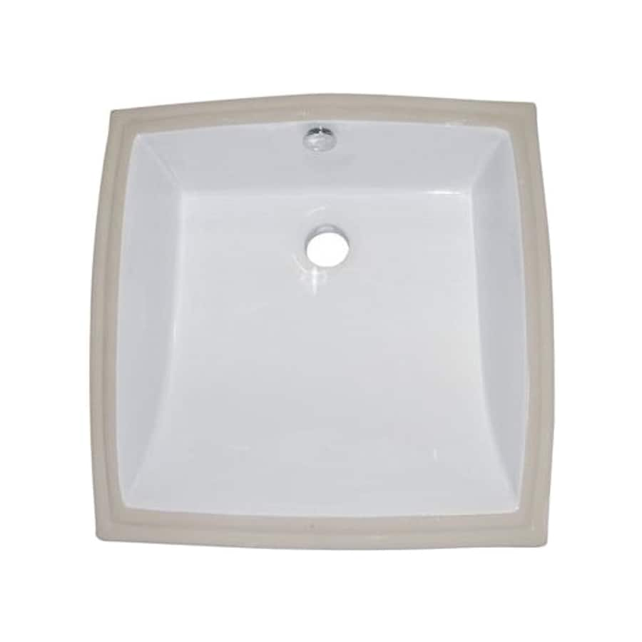 Elements of Design Cove White Undermount Square Bathroom Sink with Overflow