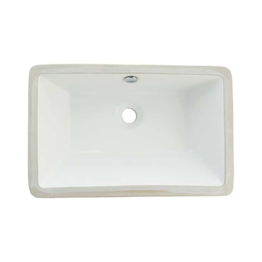 Shop Elements Of Design Castillo White Undermount Rectangular Bathroom Sink With Overflow At