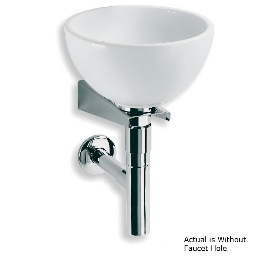 Shop Ws Bath Collections Linea White Stainless Steel Wall Mount Round Bathroom Sink Drain
