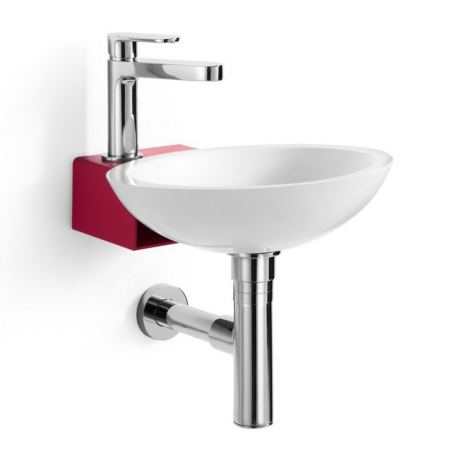 WS Bath Collections Linea White/Red Stainless-Steel Stainless Steel Wall-Mount Round Bathroom Sink Drain Included