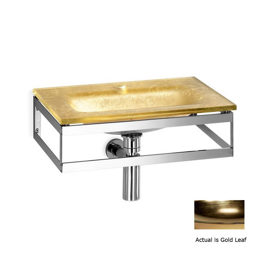 WS Bath Collections Linea Gold Leaf Glass Wall-Mount Rectangular Bathroom Sink Drain Included