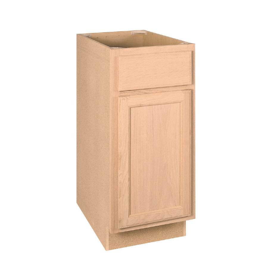 Project Source 15-in W x 34.5-in H x 24-in D Unfinished Brown Oak Door and Drawer Base Cabinet