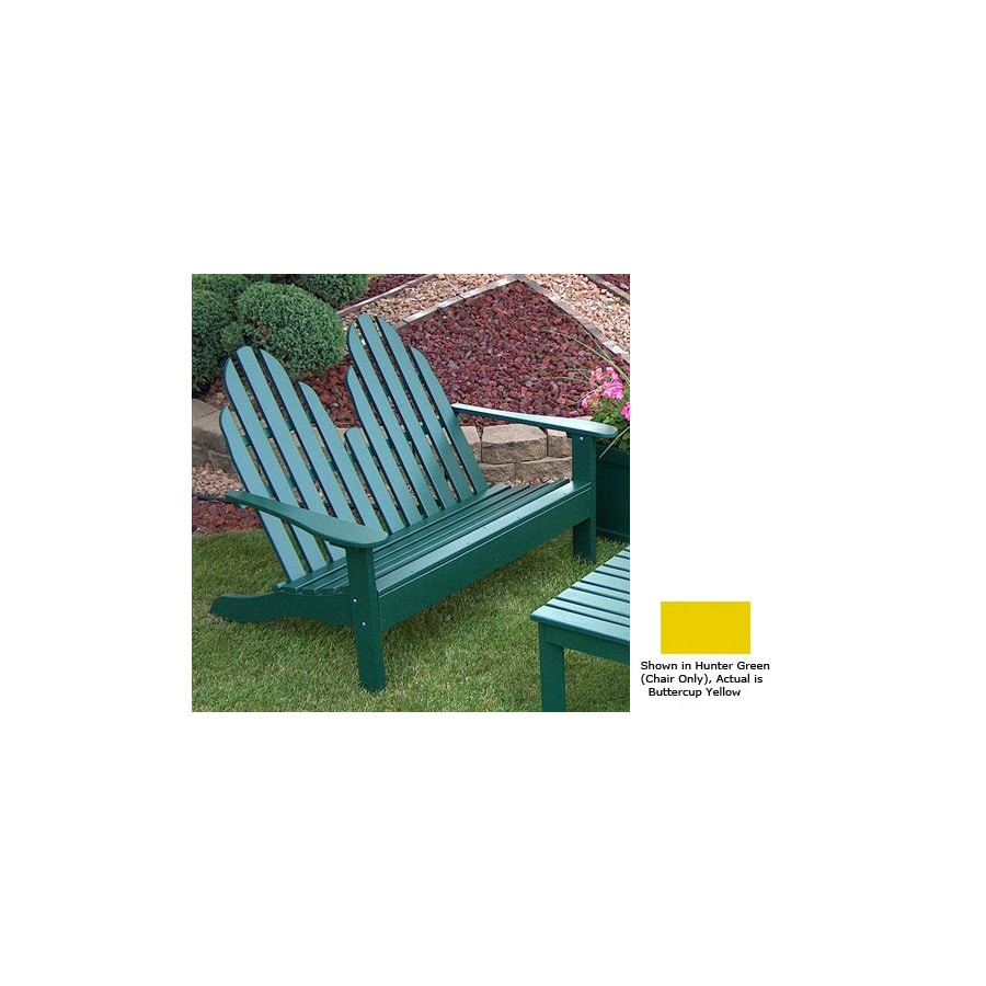 Prairie Leisure Design 35-in W x 50-in L Buttercup Yellow Pine Patio Bench
