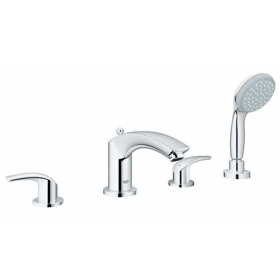 GROHE Eurosmart Chrome 2-Handle Fixed Deck Mount Bathtub Faucet
