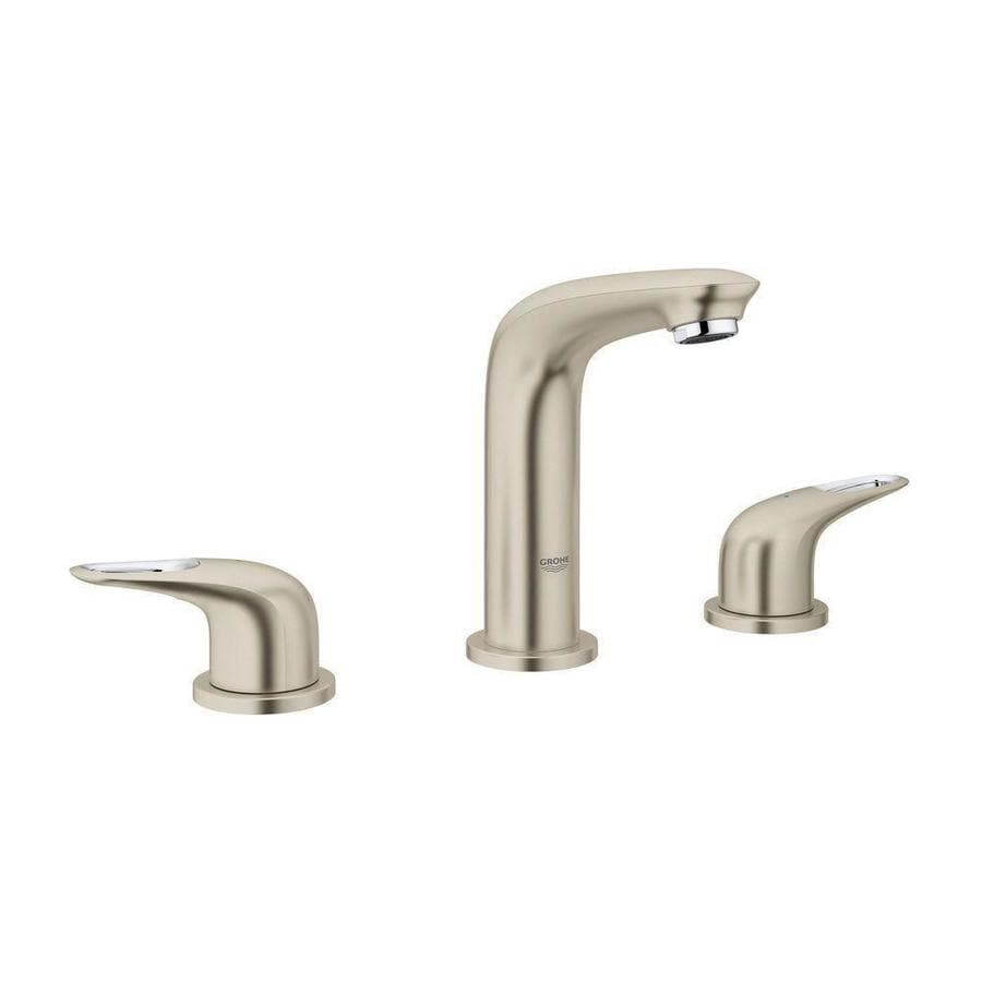 GROHE Eurostyle Brushed Nickel 2-Handle Widespread WaterSense Bathroom Faucet (Drain Included)