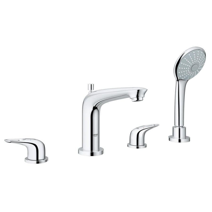 GROHE Eurostyle Chrome 2-Handle Fixed Deck Mount Bathtub Faucet