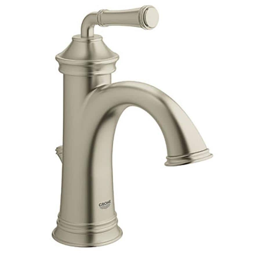 GROHE Gloucester Brushed Nickel 1-Handle Single Hole/4-in Centerset WaterSense Bathroom Faucet (Drain Included)