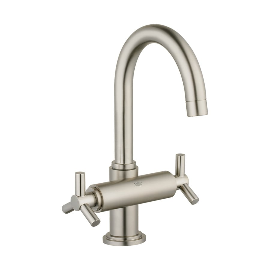 Shop grohe atrio brushed nickel 2 handle single hole for Single handle brushed nickel bathroom faucet