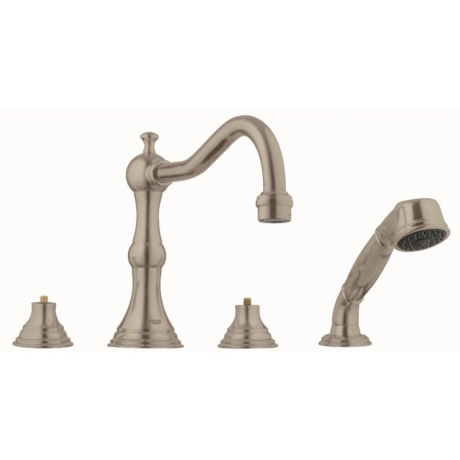 GROHE Bridgeford Brushed Nickel 2-Handle Adjustable Deck Mount Bathtub Faucet