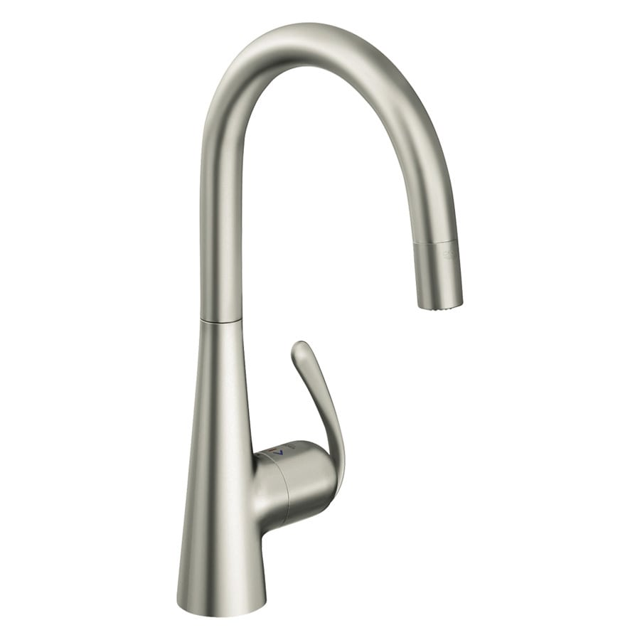 GROHE Ladylux Supersteel 1-Handle Pull-Down Kitchen Faucet
