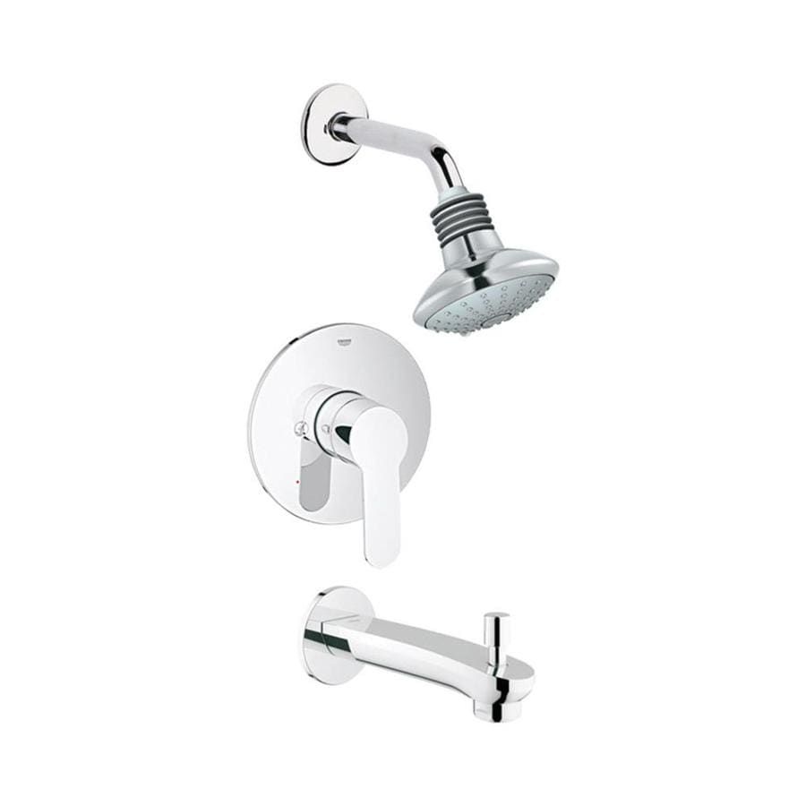GROHE Eurostyle Starlight Chrome 1-Handle Bathtub and Shower Faucet Trim Kit with Multi-Function Showerhead