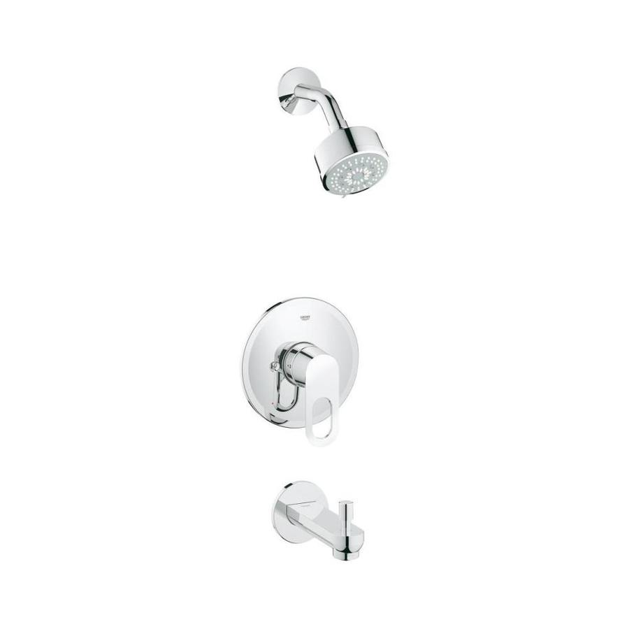 GROHE Bauloop Chrome 1-Handle WaterSense Bathtub and Shower Faucet Trim Kit with Single Function Showerhead
