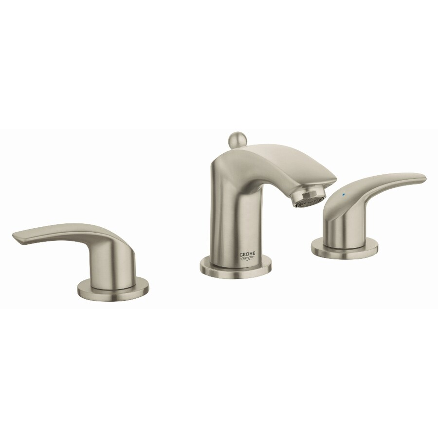 Shop Grohe Eurosmart Brushed Nickel 2 Handle Widespread Watersense Bathroom Faucet Drain