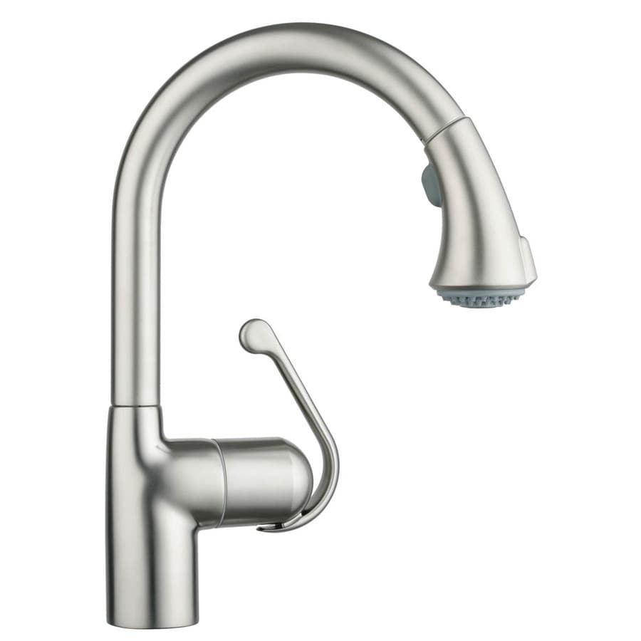 shop grohe zedra supersteel infinity finish 1 handle pull down kitchen faucet at. Black Bedroom Furniture Sets. Home Design Ideas
