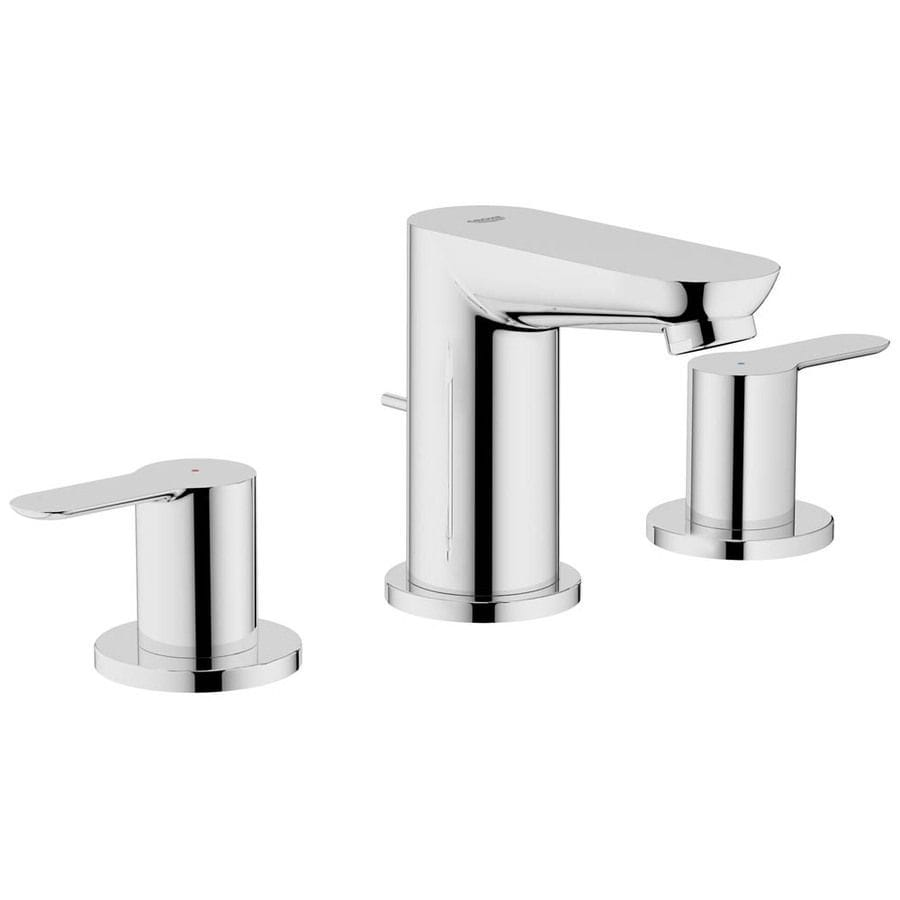 GROHE Bau Edge Starlight Chrome 2-Handle Widespread Bathroom Sink Faucet (Drain Included)