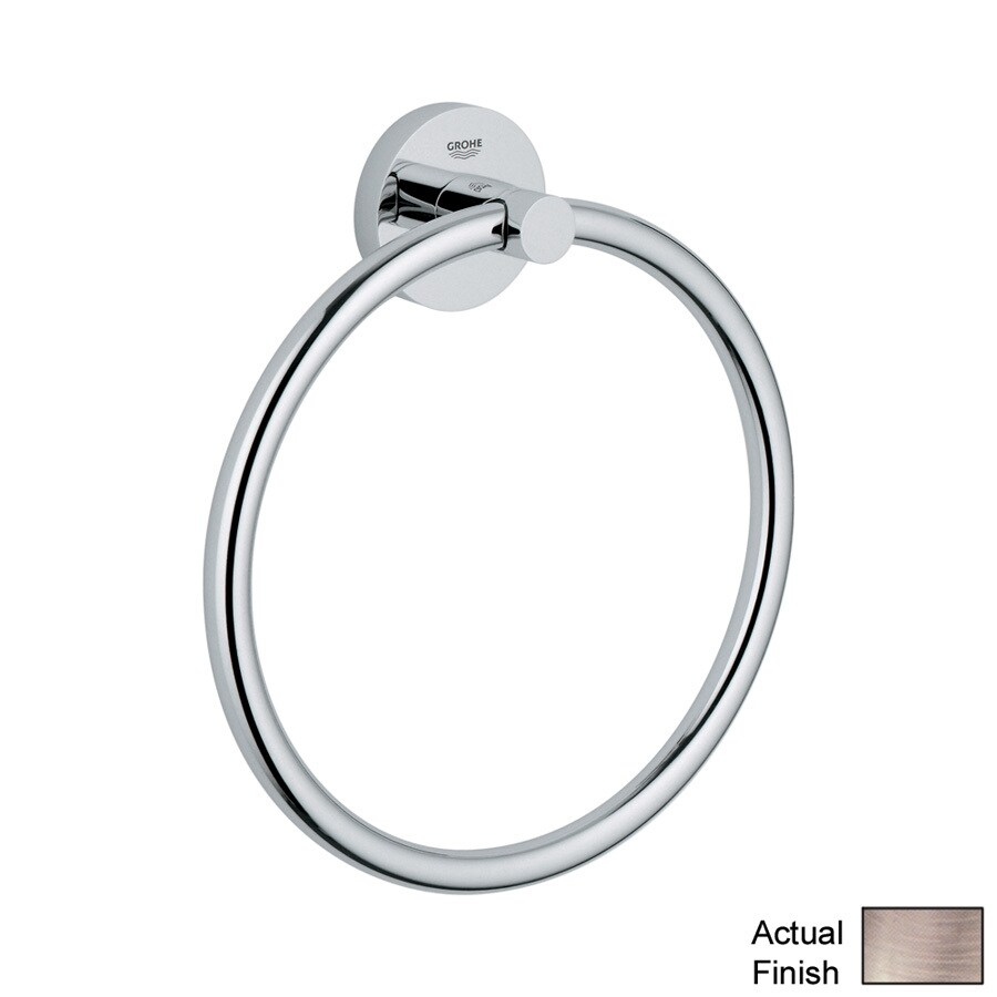 GROHE Essentials Brushed Nickel Wall Mount Towel Ring