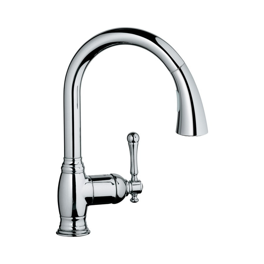 shop grohe bridgeford starlight chrome 1 handle pull down