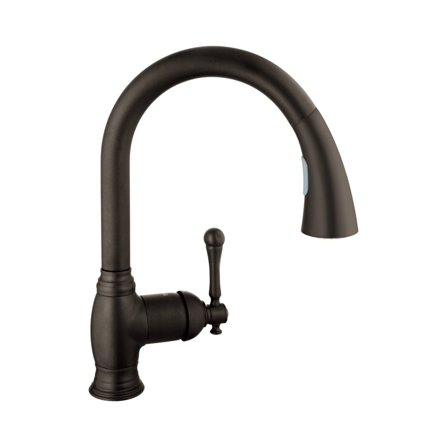 shop grohe bridgeford oil rubbed bronze 1 handle pull down kitchen faucet at. Black Bedroom Furniture Sets. Home Design Ideas