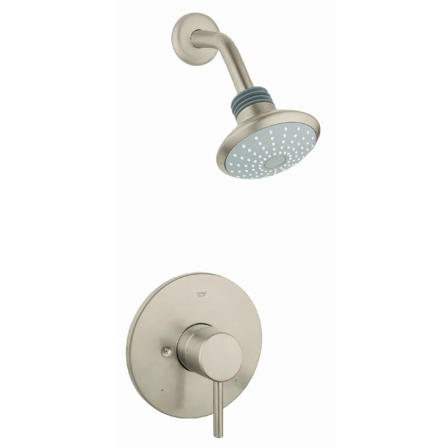 GROHE Concetto Brushed Nickel 1-Handle Shower Faucet Trim Kit with Single Function Showerhead