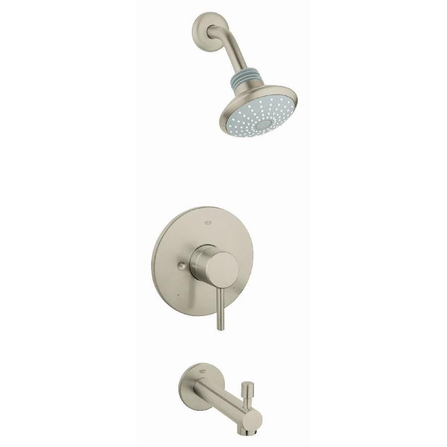 GROHE Concetto Brushed Nickel 1-Handle Bathtub and Shower Faucet Trim Kit with Single Function Showerhead