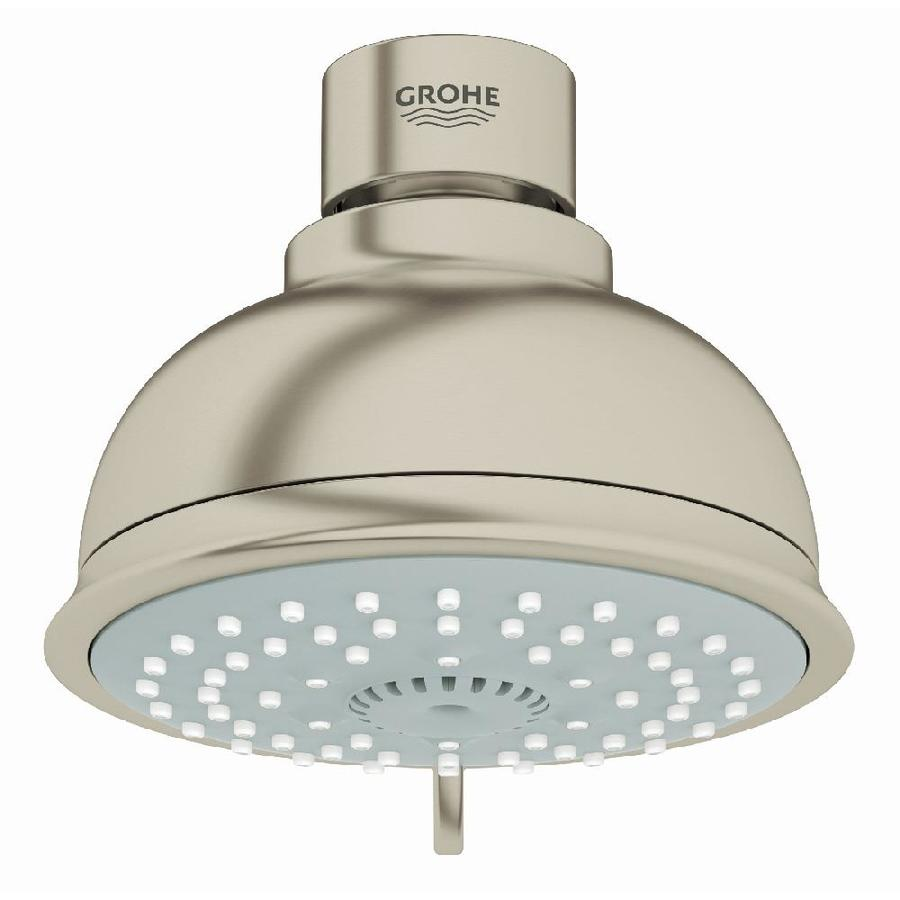 GROHE New Tempesta Rustic IV 4-in 2.0-GPM (7.6-LPM) Brushed Nickel 4-Spray WaterSense Showerhead