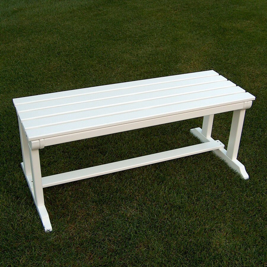 Prairie Leisure Design 22-in W x 44-in L Satin White Pine Patio Bench