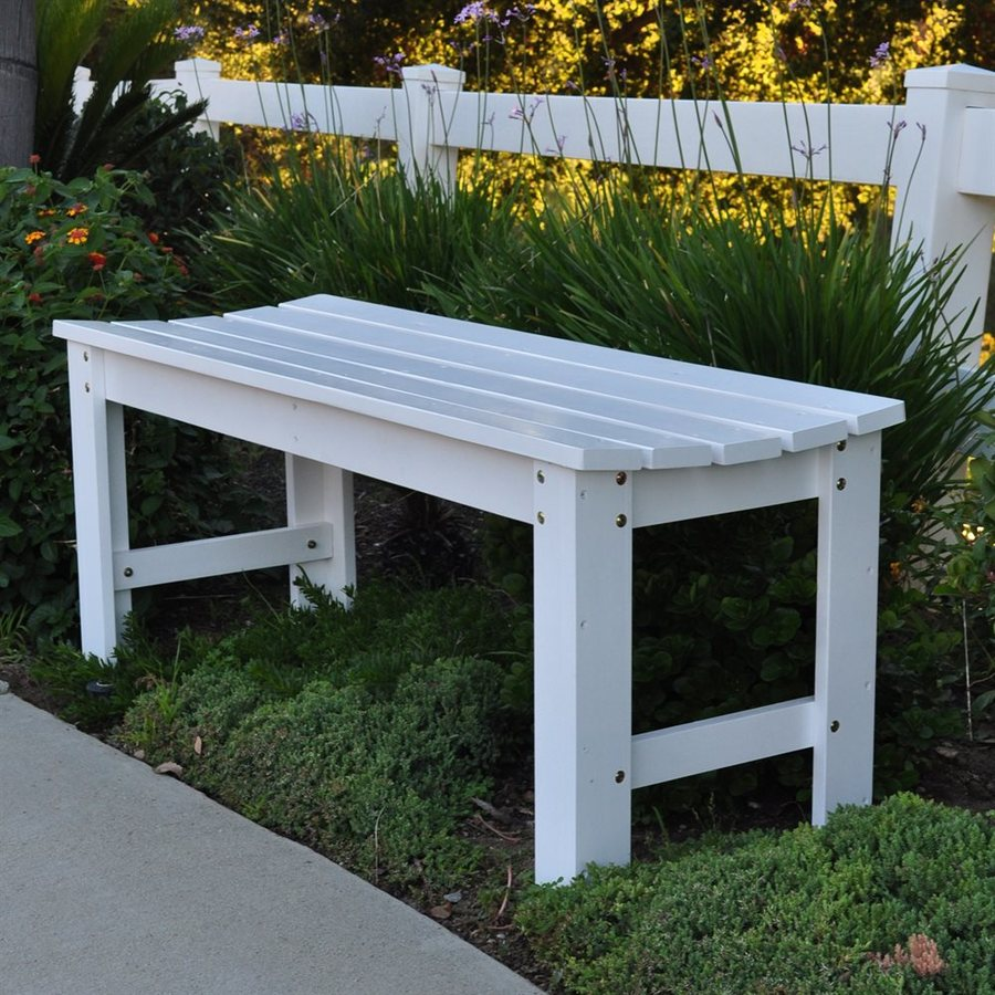 Shine Company 17-in W x 48-in L White Cedar Patio Bench