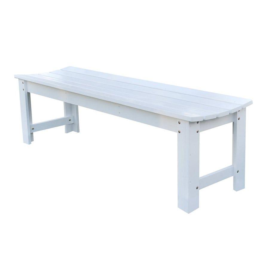 Shine Company 17-in W x 60-in L White Cedar Patio Bench